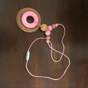 Jewelry - Pink Baby Chew-bead Necklace with Wooden Accents